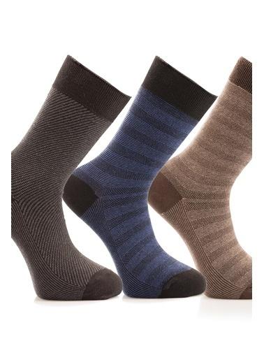 Miorre 3'lü Çizgi Desenli Erkek Çorap Renkli